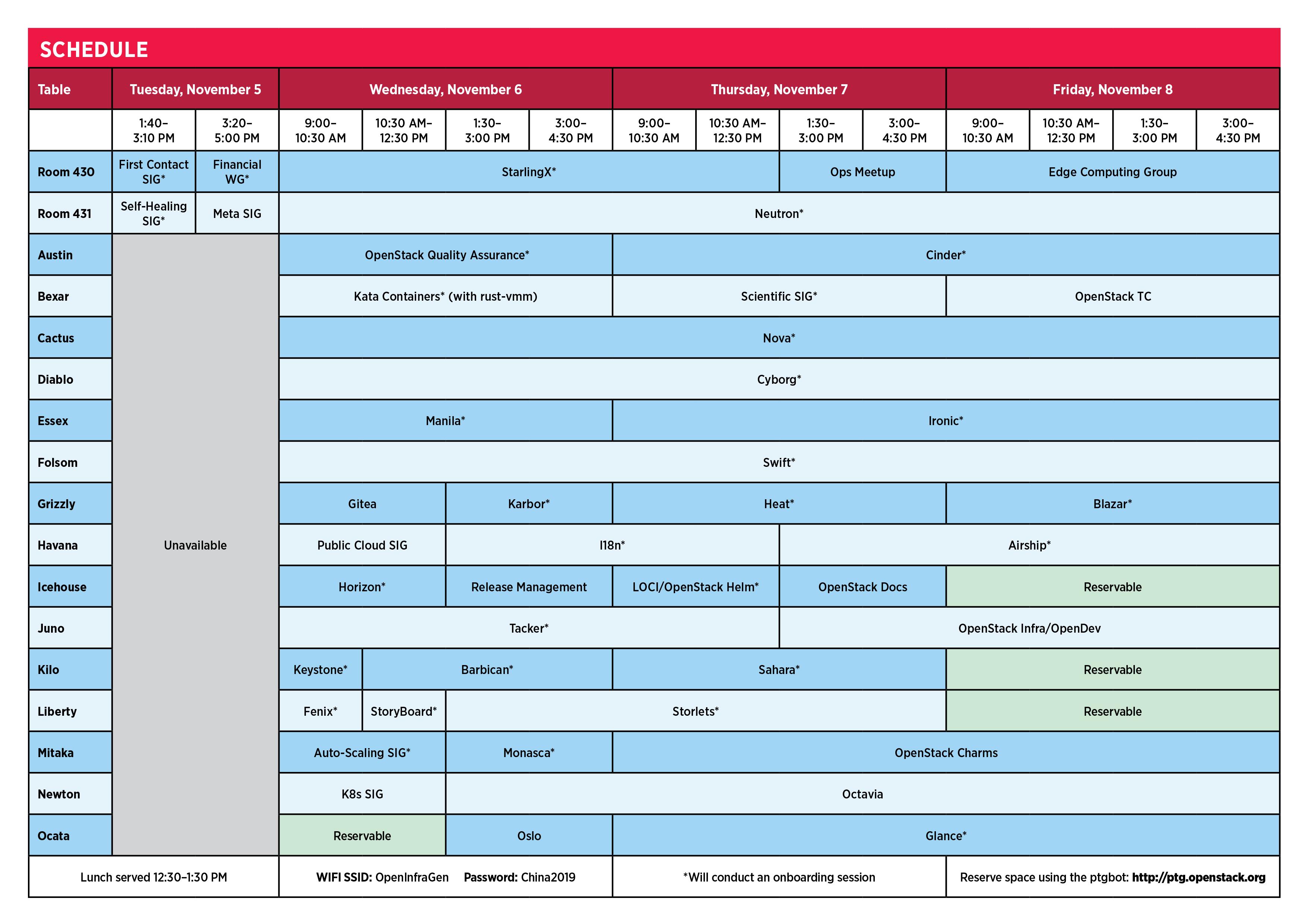 PTG Schedule